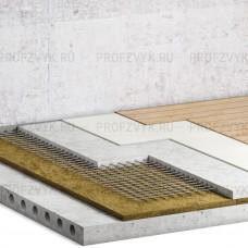 Звукоизоляция пола с помощью базальтовых плит (9-10 см)